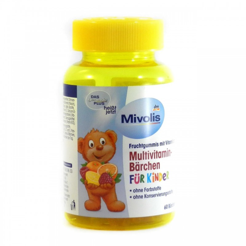 Комплекс минералов Plus-Mivolis Multivitamin-Bärchen fur kinder (60 капсул) Германия