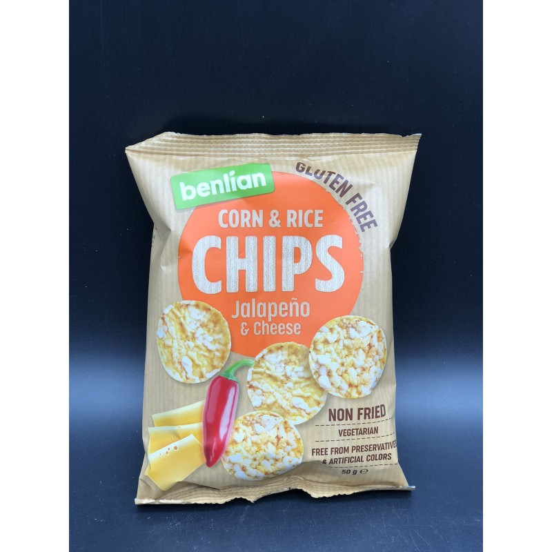 Чипсы Benlian Corn  Rice Chips Jalapeno  Cheese 50г